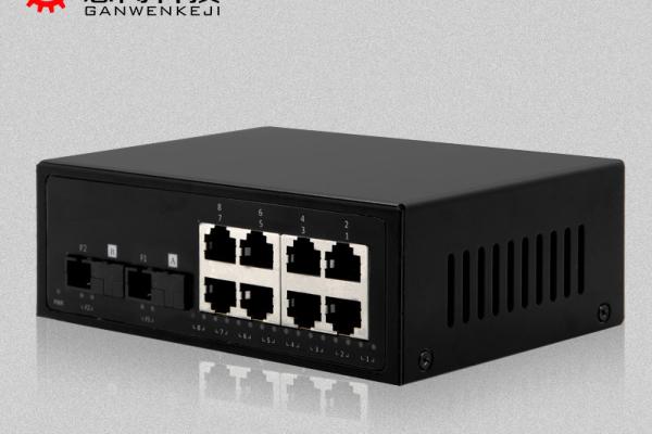 感闻千兆2光8电光纤收发器sc单模单纤20km 准工业级 高清监控用