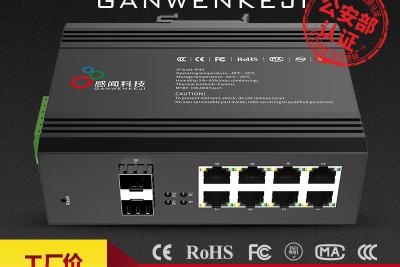 感闻环网管理型工业以太网POE交换机光纤收发器导轨式防雷7528GP